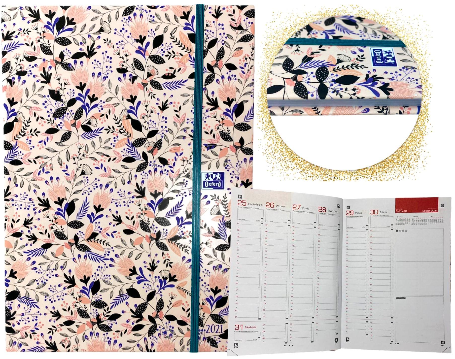 Kalendarz 2021 A5 oxford książkowy tygodniowy z gumką aplikacja