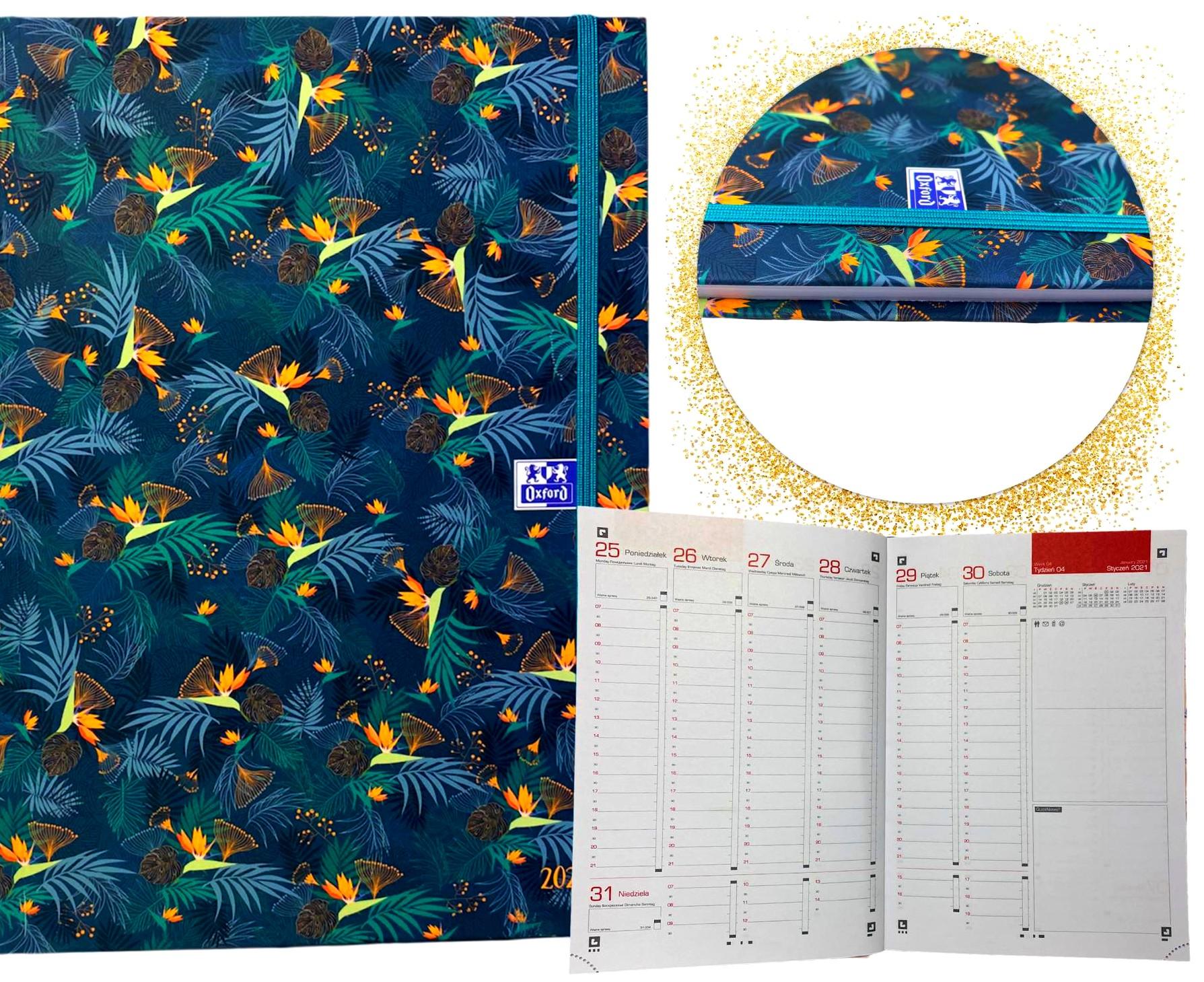 Kalendarz 2021 tygodniowy OXFORD książkowy z gumką A5