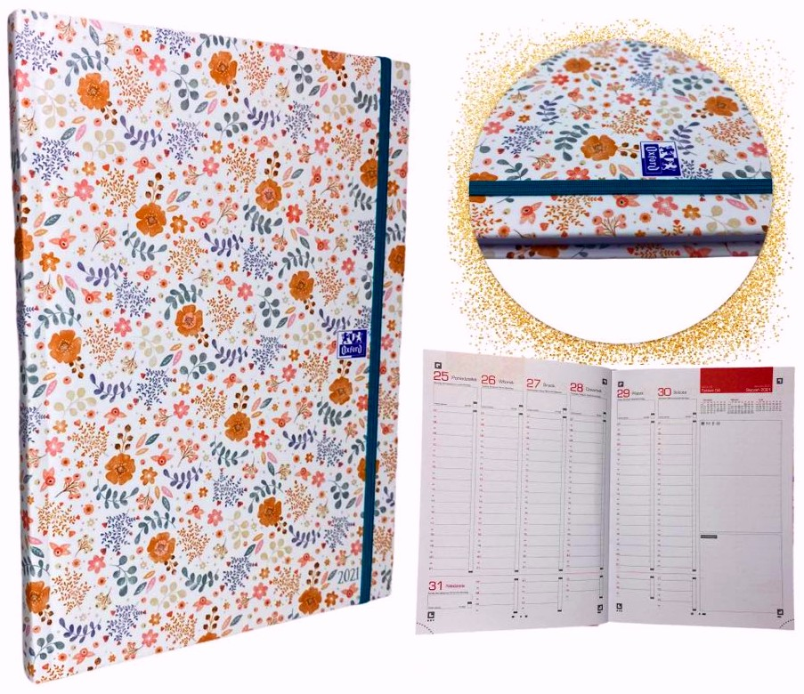 Kalendarz 2021 A5 z gumką OXFORD tygodniowy