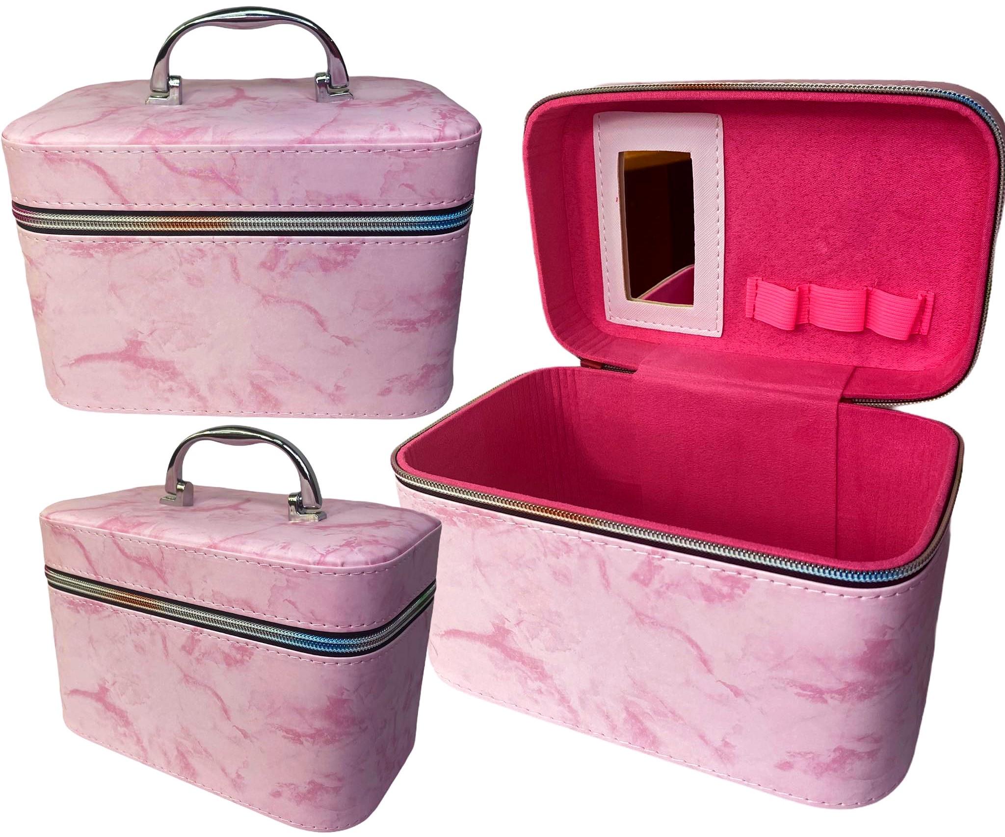 Kuferek szkatułka kosmetyczny na biżuterię marmur róż