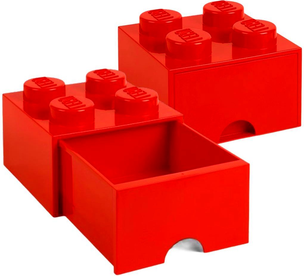 LEGO pojemnik 4 szuflada na klocki zabawki czerwony