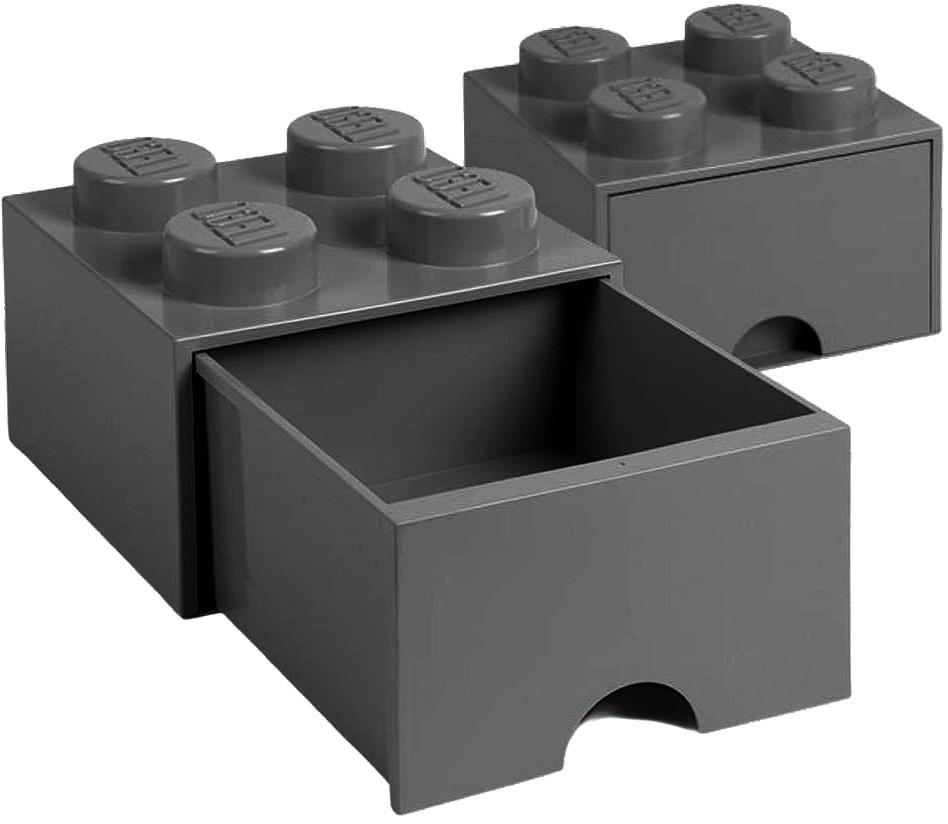 Pojemnik Lego ciemnoszary 4 szuflada na klocki zabawki