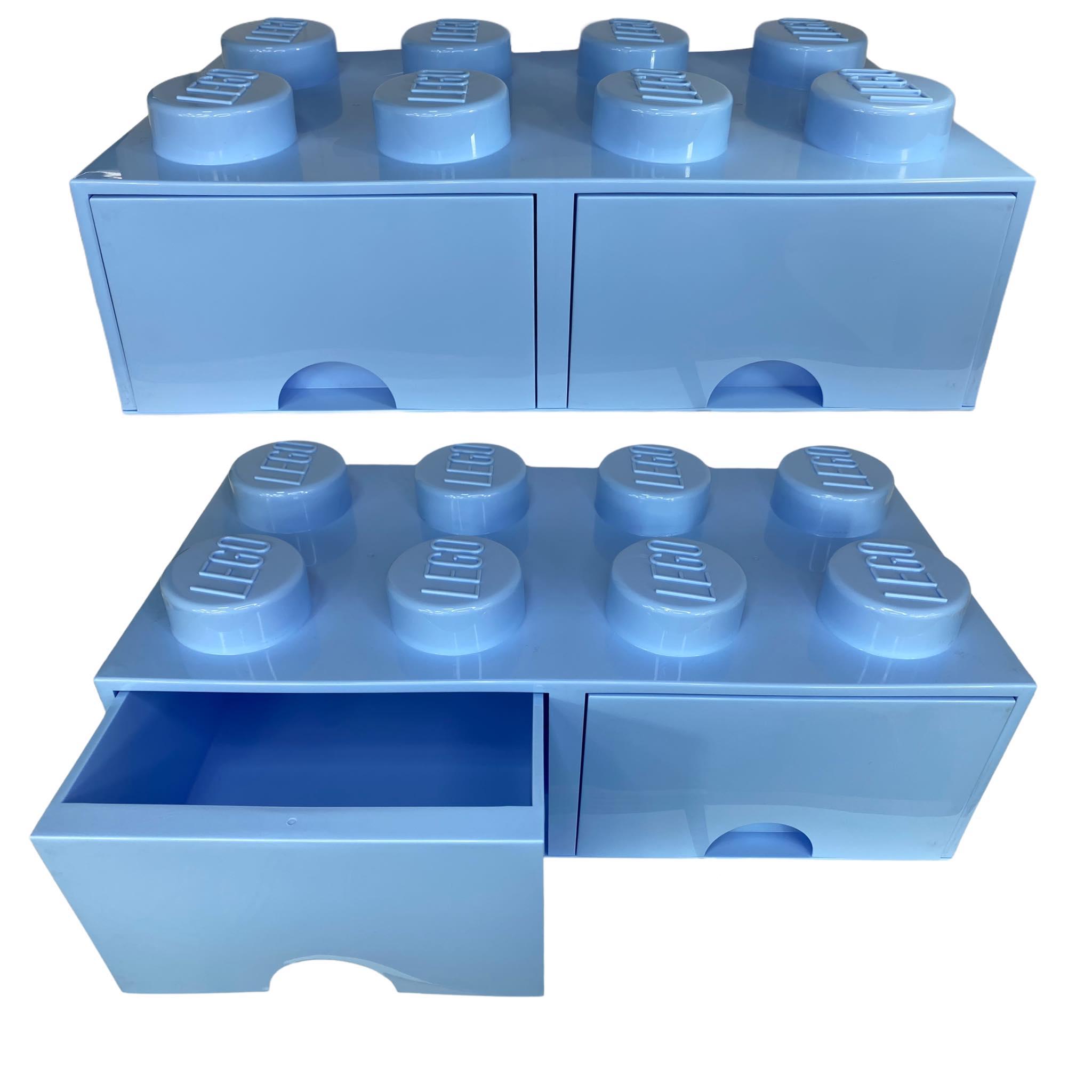 Pojemnik lego 8 szuflada jasnoniebieski błękitny na klocki