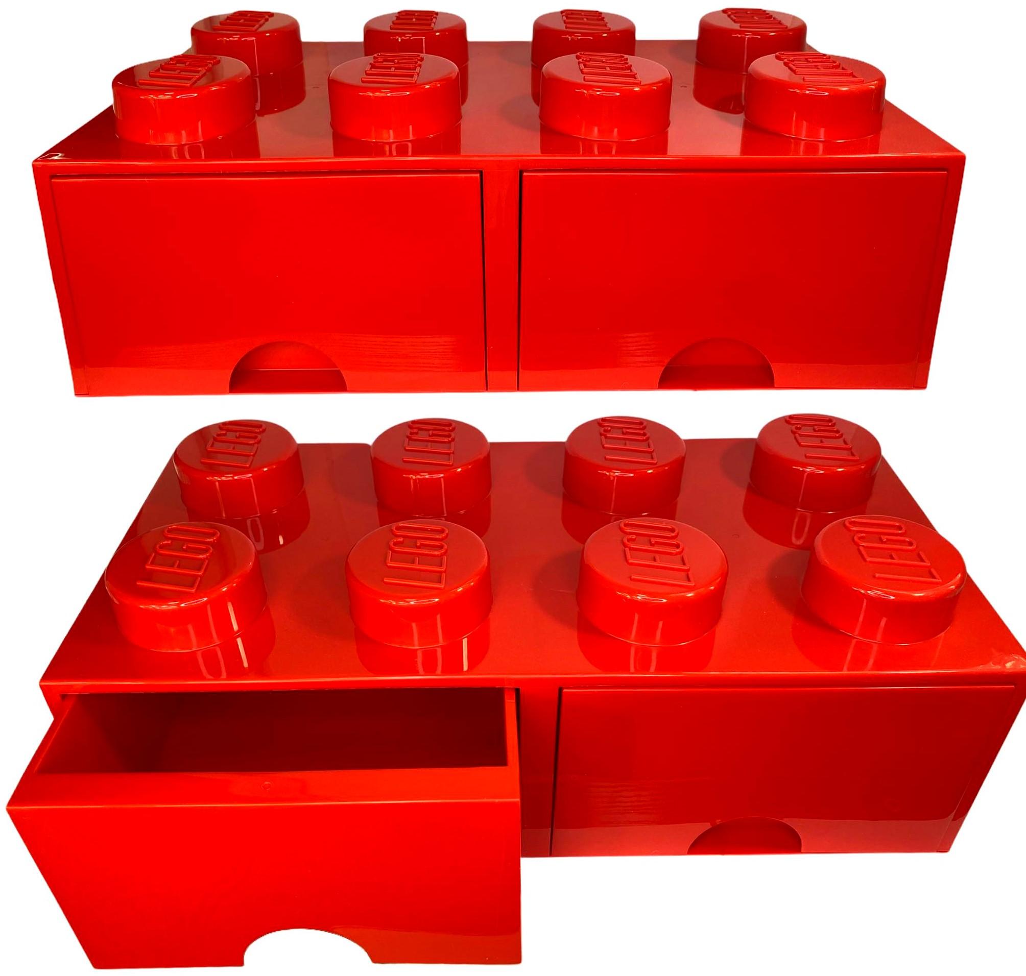 Pojemnik lego 8 szuflada czerwony na klocki prezent