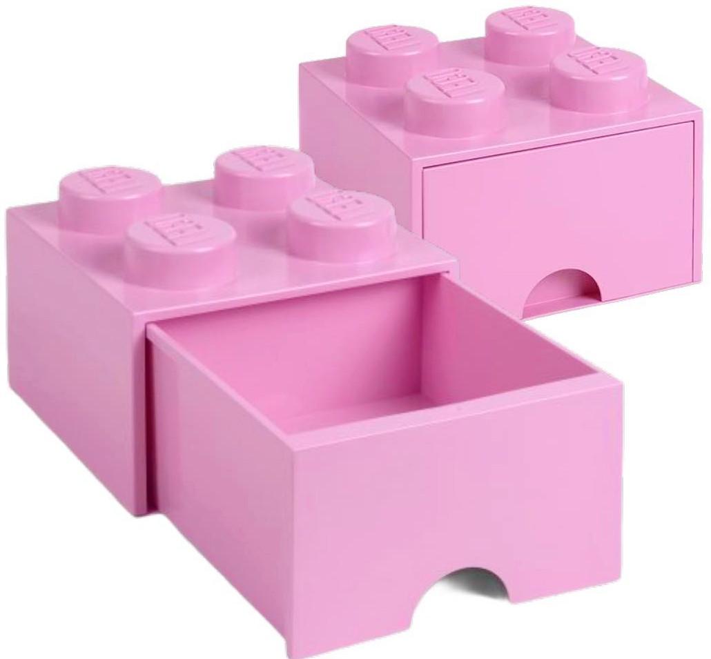 Pojemnik Lego 4 szuflada jasnoróżowy na klocki zabawki