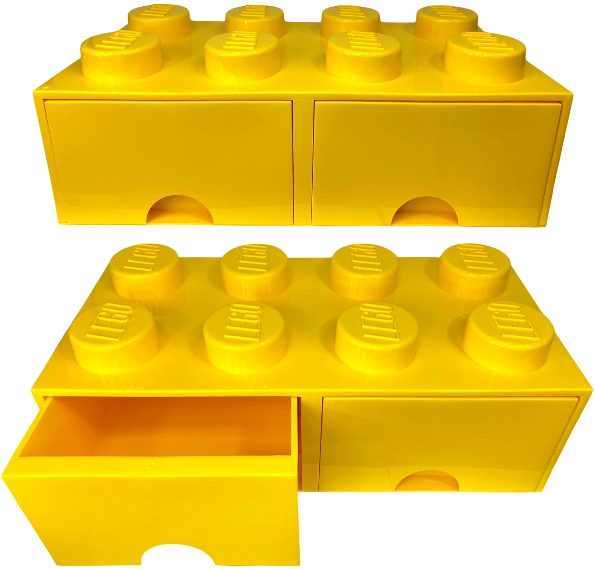 Pojemnik lego 8 szuflada żółty na prezent klocki
