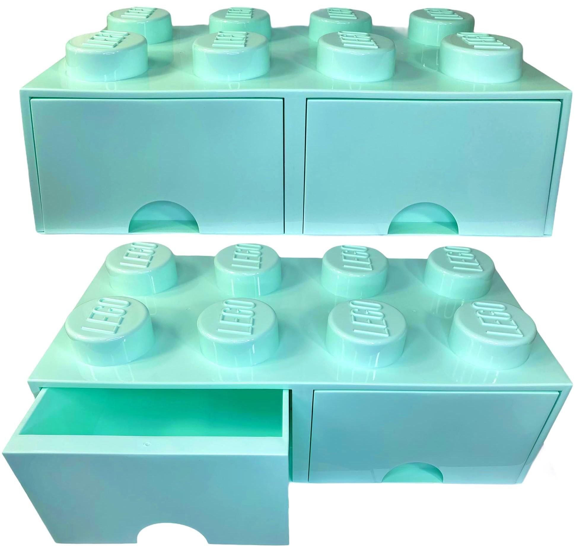 Pojemnik lego 8 szuflada morski na klocki miętowy