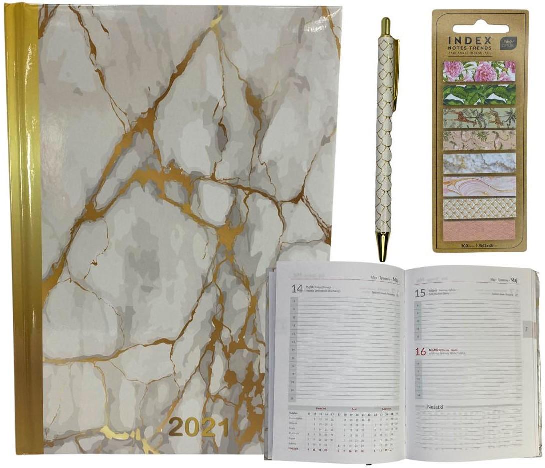Kalendarz 2021 dzienny + zakładki + długopis