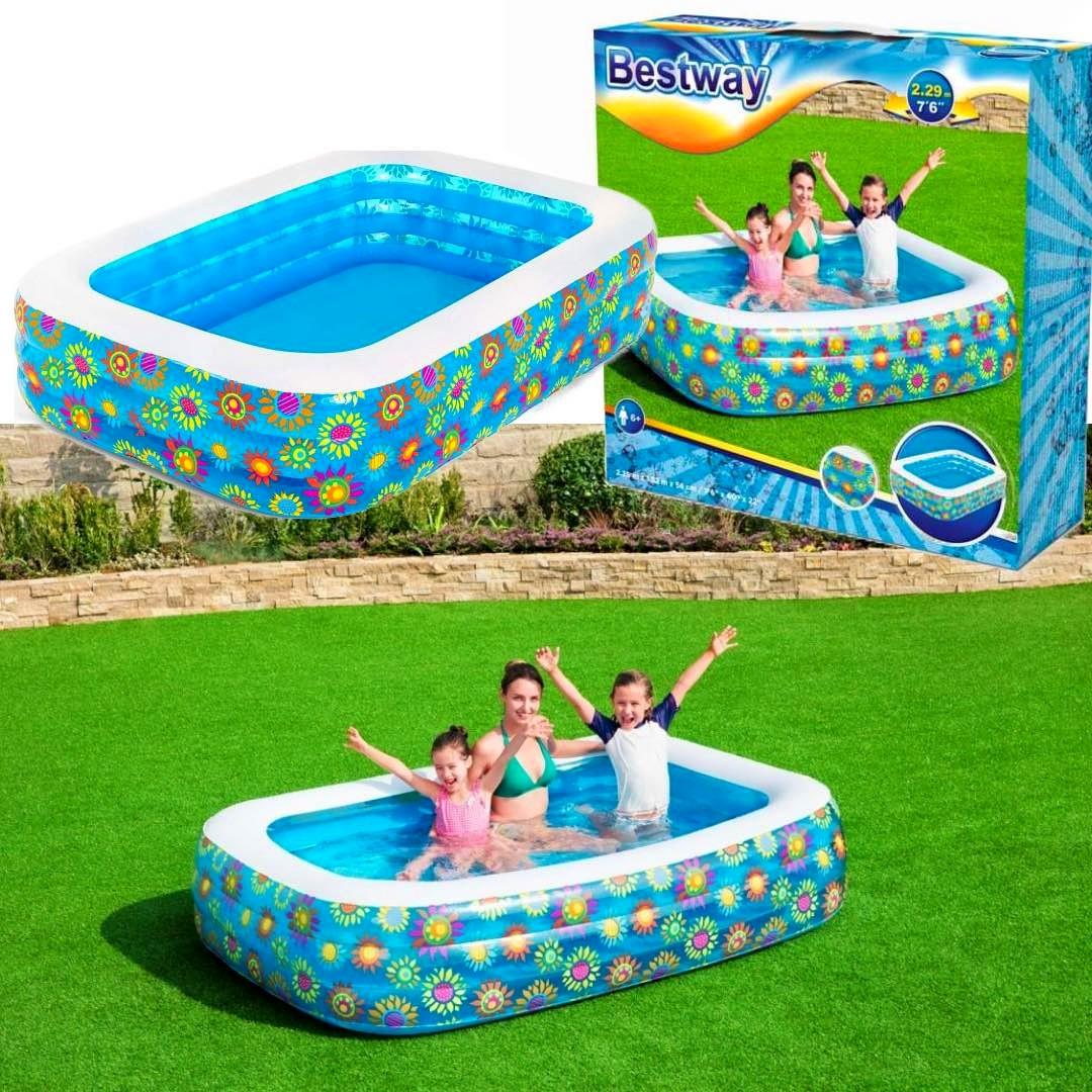 Duży rodzinny basen ogrodowy BESTWAY dla całej rodziny KWIATY