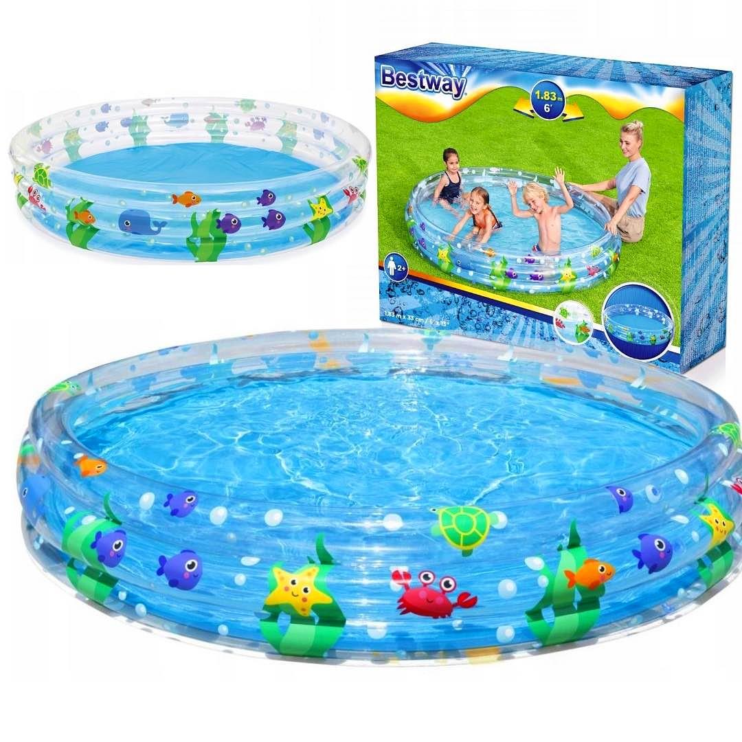 Duży basen dla dzieci BESTAWY ogrodowy dziecięcy RYBKI