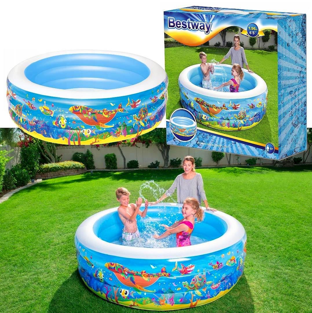 Duży basen dziecięcy dla dzieci BESTWAY ogrodowy Rybki