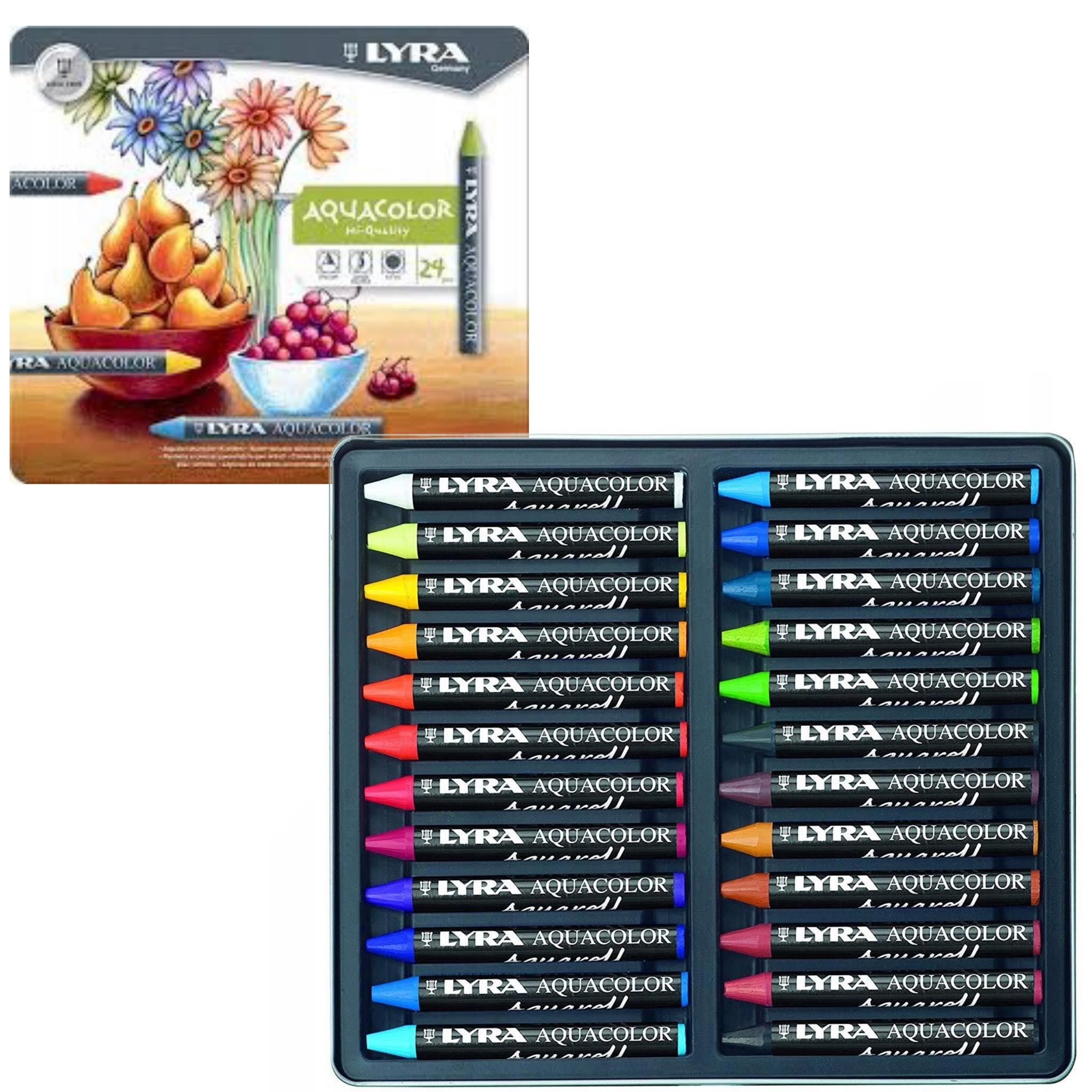 Kredki świecowe akwarelowe LYRA AQUACOLOR 24 sztuk Akwarel