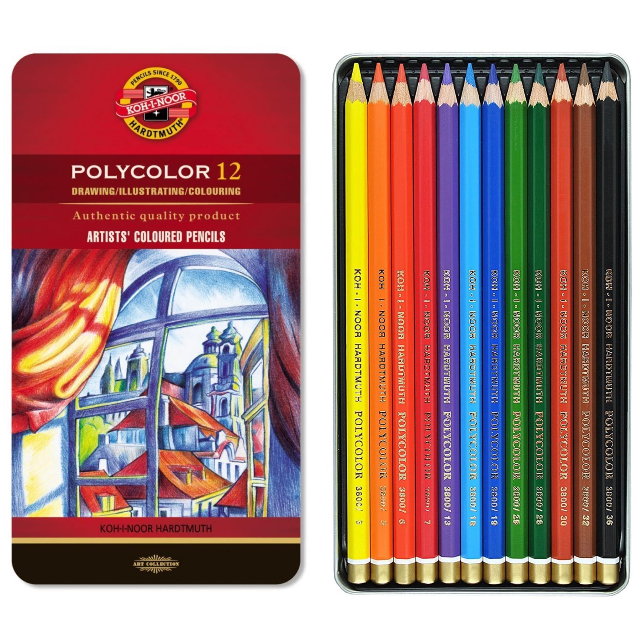 KOH-I-NOOR Kredki ołówkowe Polycolor 12 kol METAL ARTYSTYCZNE
