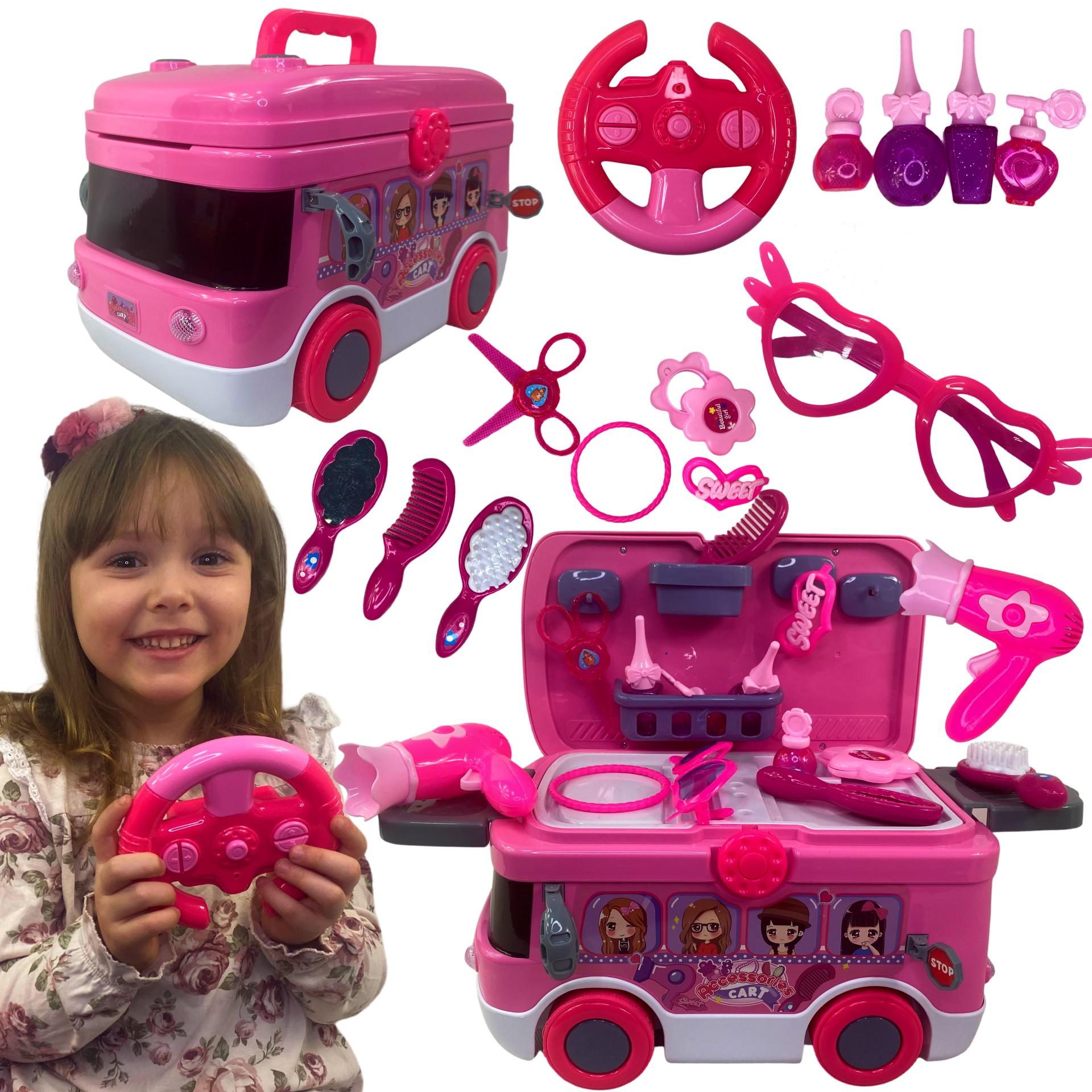 Toaletka dla dziewczynki zestaw akcesoriów autko napęd