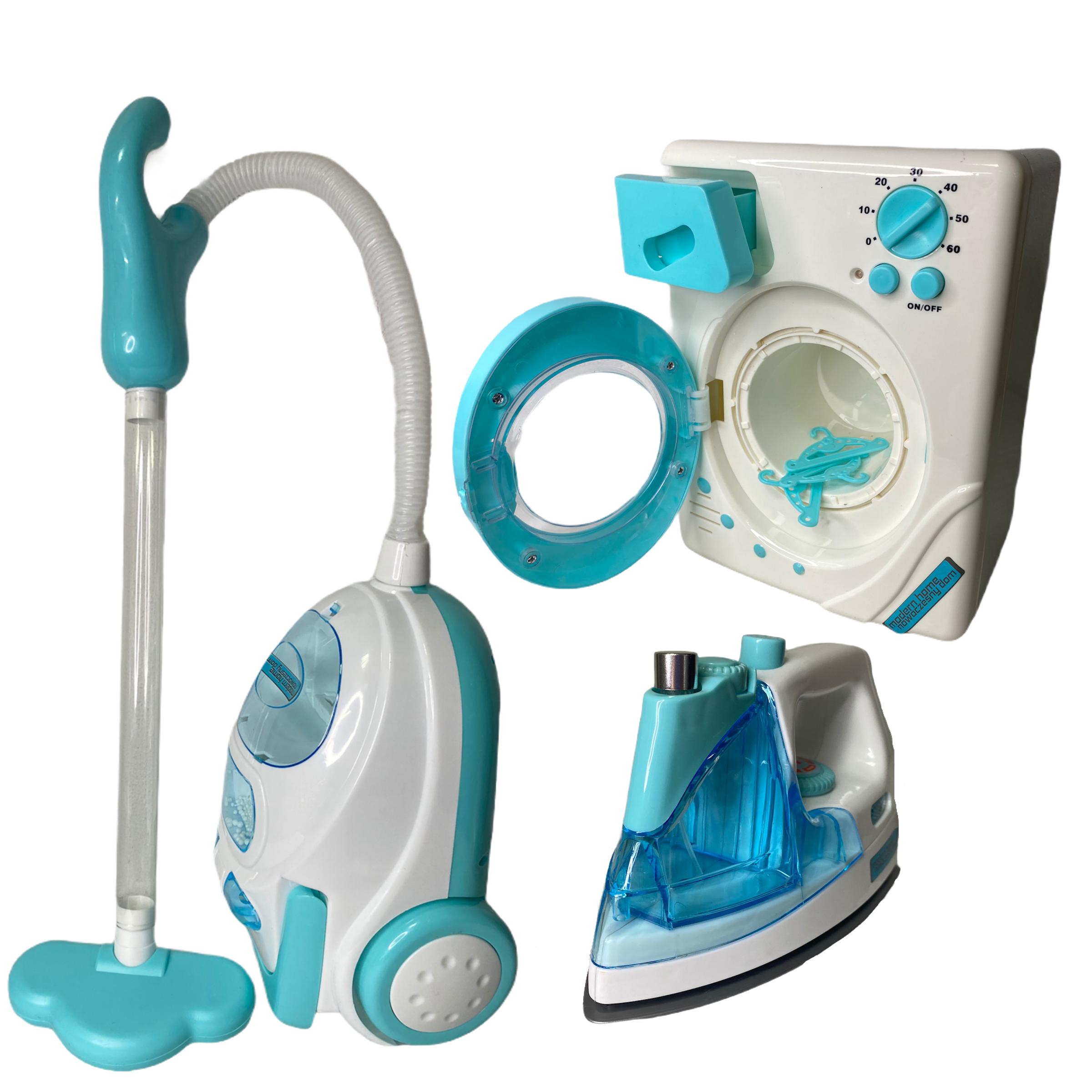 Zestaw AGD Pralka odkurzacz żelazko dla dzieci zabawkowe kuchenne domowe