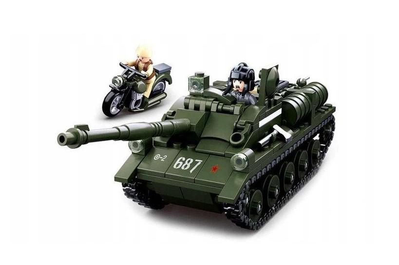 Klocki Sluban WOJSKO CZOŁG RADZIECKI SU-85 338 el PASUJE DO LEGO
