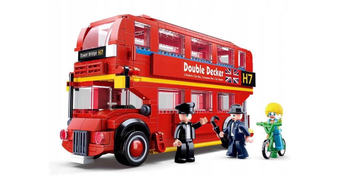 Klocki Sluban czerwony AUTOBUS LONDYŃSKI PIĘTROWY 382 EL. pasuje do LEGO