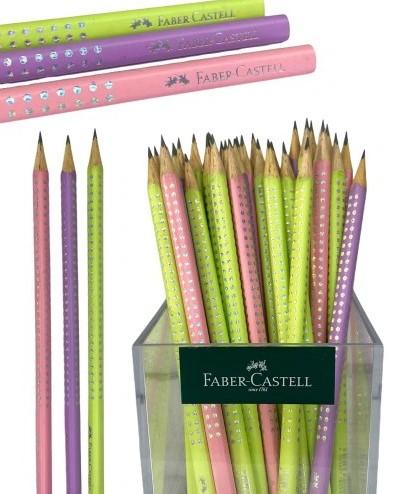 Ołówek Faber Castell z kryształkami pastelowe 3 szt