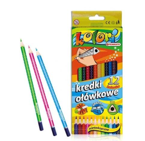 Kredki ołówkowe trójkątne 12 kolorów temperówka