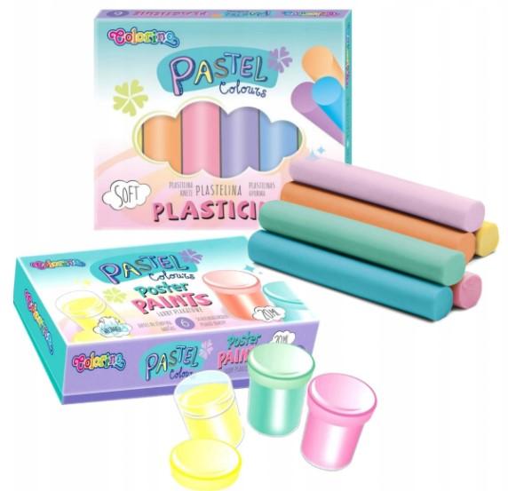 Wyprawka plastelina farby pastelowe colorino 6