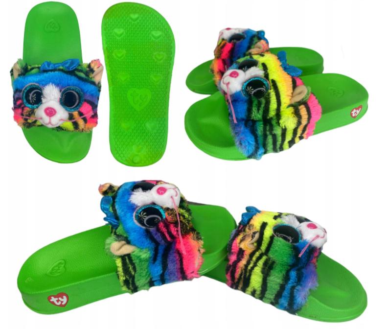 Klapki dziecięce Basenowe Pluszowe Tiger Ty M 24 cm