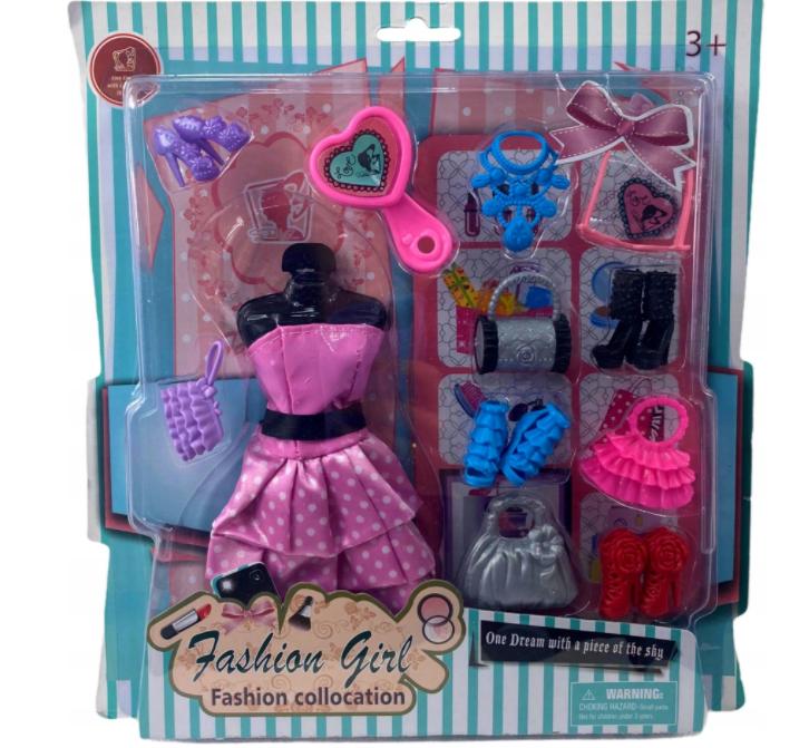Zestaw akcesoriów dla lalki Barbie ubranka buty