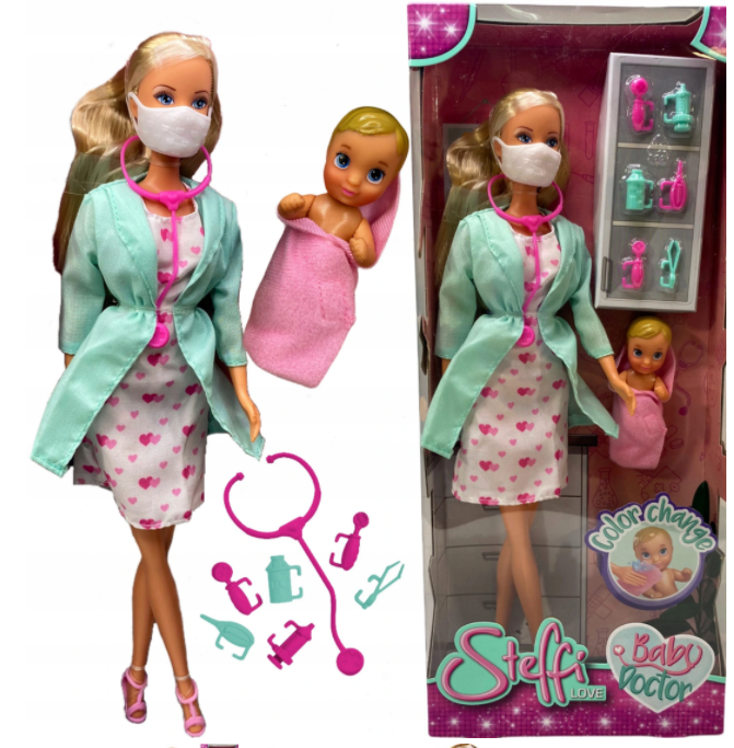 Lalka Barbie Steffi Lekarz Doktor Pediatra dzidziuś