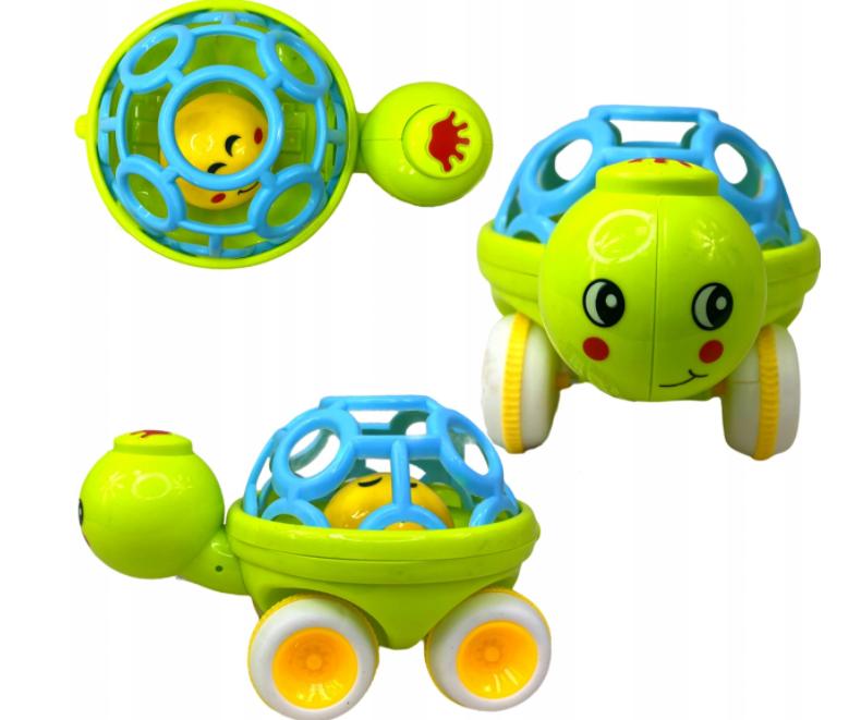 Grzechotka sensoryczna jeżdżąca żółw dla niemowląt