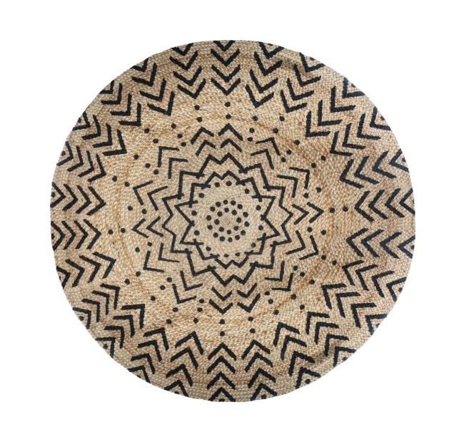 Dywan Skandynawski Okrągły haft Jutowy