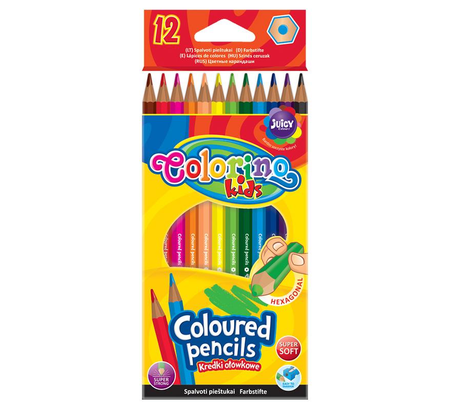 Kredki ołówkowe heksagonalne 12 kolorów Colorino