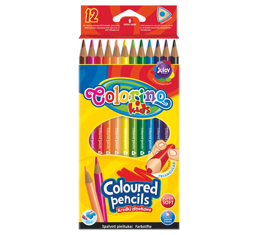 Kredki ołówkowe trójkątne 12 kolorów Colorino
