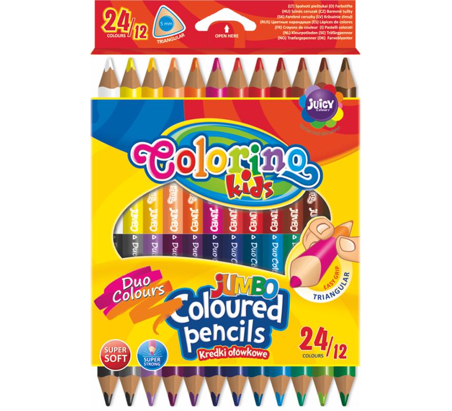 Kredki trójkątne JUMBO 12/24 kolory Colorino