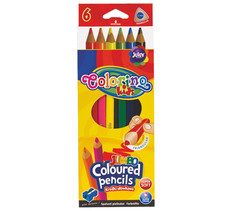 Kredki trójkątne JUMBO 6 kolorów Colorino
