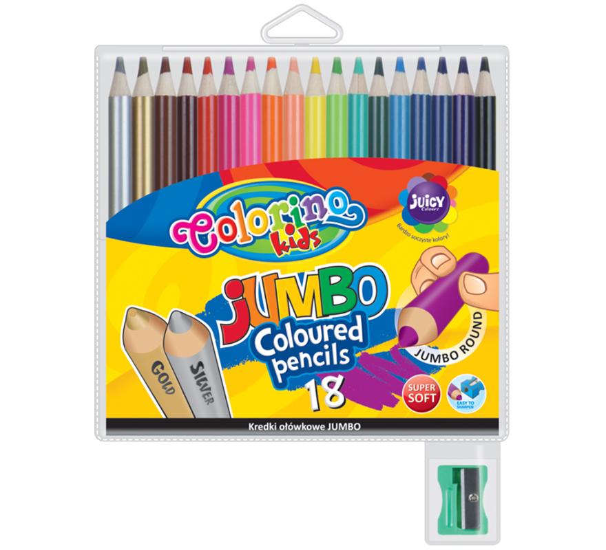 Kredki ołówkowe okrągłe 18 kolorów Colorino JUMBO