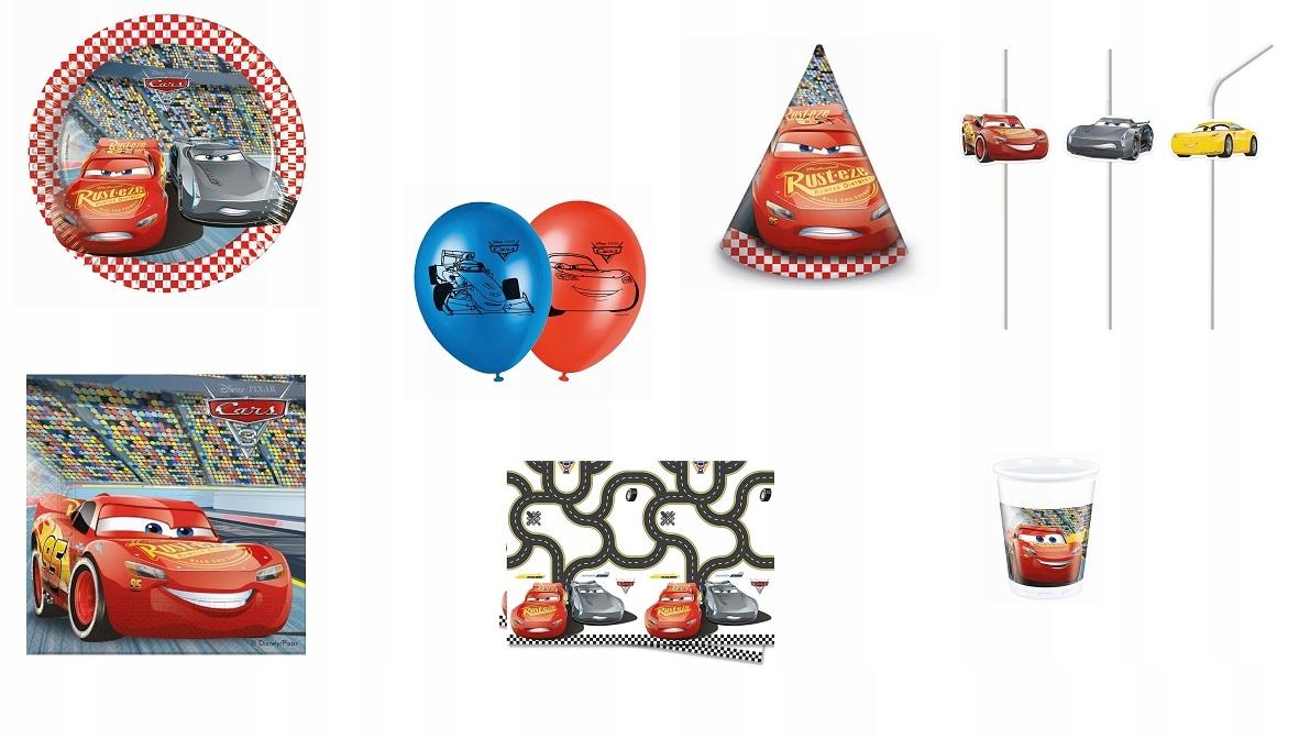 Zestaw urodziny talerzyki papierowe 8szt Cars