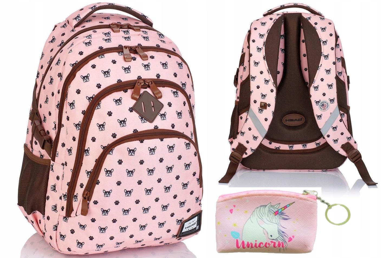 Plecak szkolny młodzieżowy różowy DOG Head HD-245